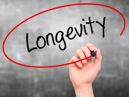 longevity: Man Hand writing Longevity  with black marker on visual screen. Isolated on grey. Business, technology, internet concept. Stock Photo
