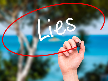 no integrity: Man Hand writing Lies with black marker on visual screen. Isolated on nature. Business, technology, internet concept. Stock Photo