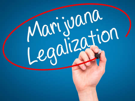 legislators: Man Hand writing Marijuana Legalization with black marker on visual screen. Isolated on blue. Live, technology, internet concept. Stock Photo Stock Photo