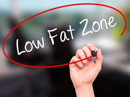 low fat: Man Hand writing Low Fat Zone with black marker on visual screen. Isolated on office. Business, technology, internet concept. Stock Photo