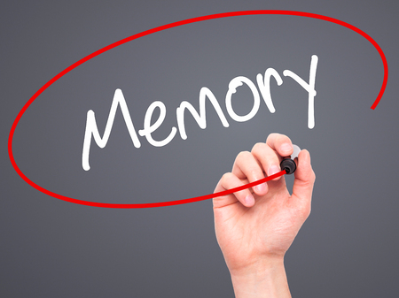 narrator: Man Hand writing Memory  with black marker on visual screen. Isolated on background. Business, technology, internet concept. Stock Photo