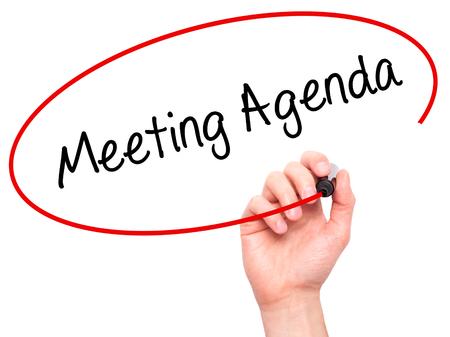 Man Hand Schreiben Meeting Agenda Mit Schwarzem Filzstift Auf ...