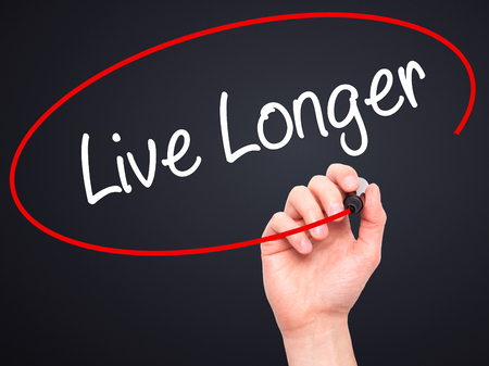 longer: Man Hand writing Live Longer with black marker on visual screen. Isolated on black. Business, technology, internet concept. Stock Photo