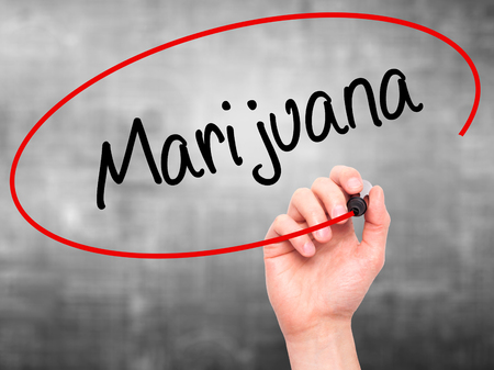 american downloads: Man Hand writing Marijuana with black marker on visual screen. Isolated on grey. Business, technology, internet concept. Stock Photo