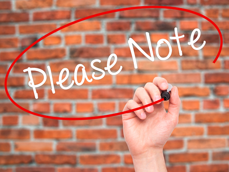 dangerously: Man Hand writing Please Note with black marker on visual screen. Isolated on bricks. Business, technology, internet concept. Stock Photo Stock Photo