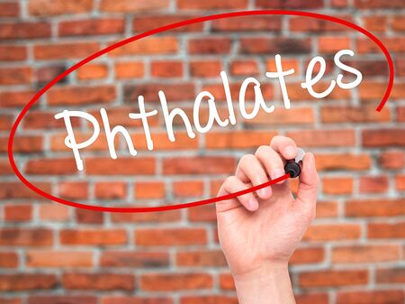 bisphenol a: Man Hand writing  Phthalates  with black marker on visual screen. Isolated on background. Business, technology, internet concept. Stock Photo Stock Photo