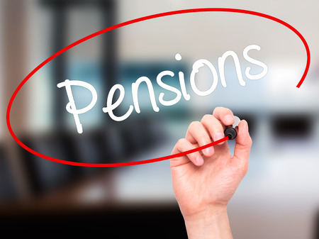 pensions: Man Hand writing Pensions with black marker on visual screen. Isolated on background. Business, technology, internet concept. Stock Photo