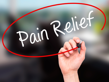relieved: Man Hand writing Pain Relief with black marker on visual screen. Isolated on office. Business, technology, internet concept. Stock Photo Stock Photo
