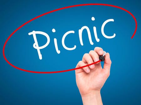 picknick: Man Hand writing Picnic with black marker on visual screen. Isolated on blue. Business, technology, internet concept. Stock Photo Stock Photo