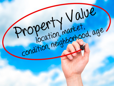 sales report: Man Hand writing Property Value - location, market, condition, neighborhood, age with black marker on visual screen. Isolated on sky. Business, technology, internet concept. Stock Image