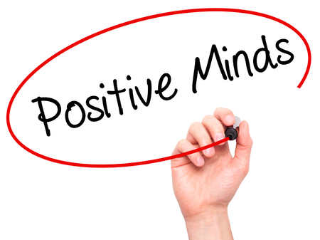 open minded: Man Hand writing Positive Minds with black marker on visual screen. Isolated on white. Business, technology, internet concept. Stock Photo