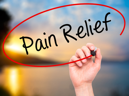 Pain Management: Man Hand writing Pain Relief with black marker on visual screen. Isolated on nature. Business, technology, internet concept. Stock Photo