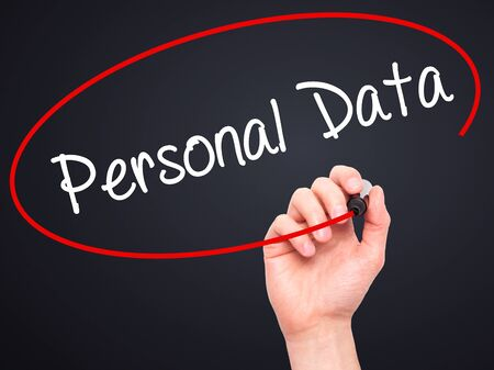 directive: Man Hand writing Personal Data  with black marker on visual screen. Isolated on background. Business, technology, internet concept. Stock Photo