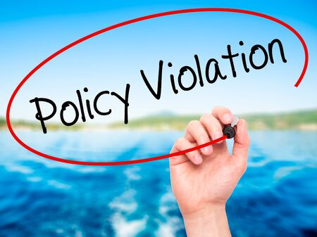 violation: Man Hand writing Policy Violation with black marker on visual screen. Isolated on nature. Business, technology, internet concept. Stock Photo
