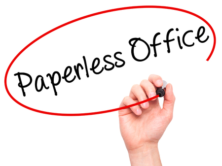 paperless: Man Hand writing Paperless Office  with black marker on visual screen. Isolated on white. Business, technology, internet concept. Stock Photo