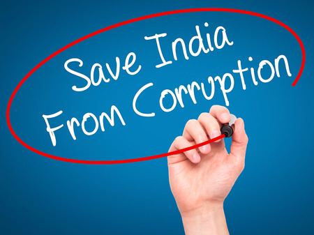 bannister: Man Hand writing Save India From Corruption with black marker on visual screen. Isolated on background. Business, technology, internet concept. Stock Photo