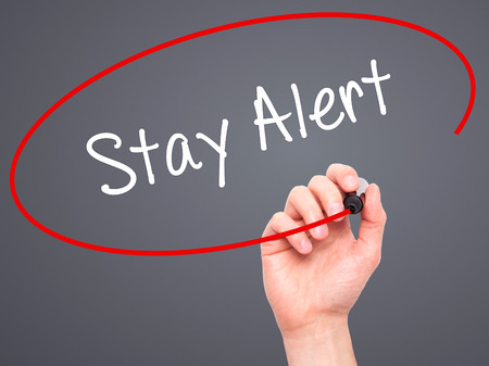 stay alert: Man Hand writing Stay Alert with black marker on visual screen. Isolated on grey. Business, technology, internet concept. Stock Photo Stock Photo