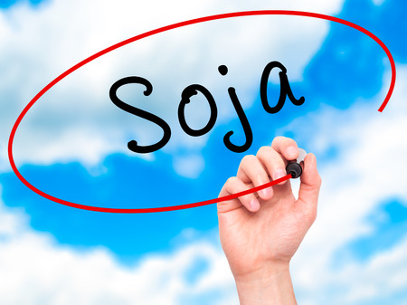 soja: Man Hand writing Soja (Soybean in Portuguese) with black marker on visual screen. Isolated on sky. Business, technology, internet concept. Stock Photo