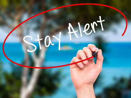 safety slogan: Man Hand writing Stay Alert with black marker on visual screen. Isolated on nature. Business, technology, internet concept. Stock Photo