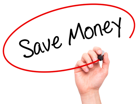 Man Hand writing Save Money with black marker on visual screen. Isolated on white. Business, technology, internet concept. Stock Photo Stock Photo