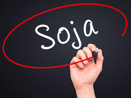 soja: Man Hand writing Soja (Soybean in Portuguese) with black marker on visual screen. Isolated on black. Business, technology, internet concept. Stock Photo
