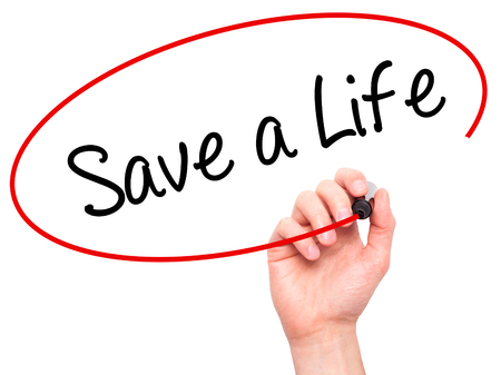t bar: Man Hand writing Save a Life  with black marker on visual screen. Isolated on white. Business, technology, internet concept. Stock Photo