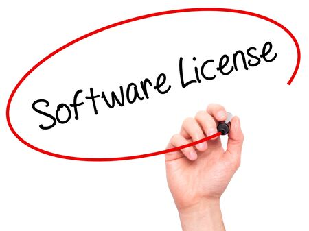 linker: Man Hand writing Software License with black marker on visual screen. Isolated on white. Business, technology, internet concept.