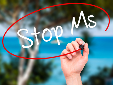 spasms: Man Hand writing Stop Ms with black marker on visual screen. Isolated on nature. Business, technology, internet concept. Stock Photo
