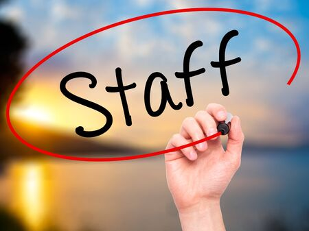 new recruit: Man Hand writing  Staff with black marker on visual screen. Isolated on background. Business, technology, internet concept. Stock Photo
