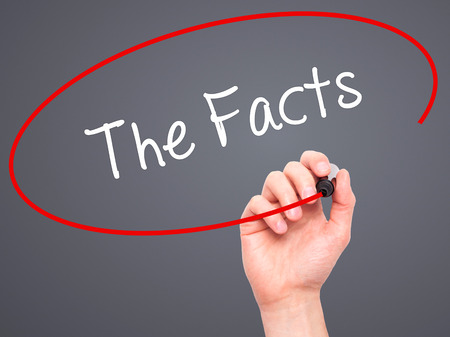 fib: Man Hand writing The Facts  with black marker on visual screen. Isolated on grey. Stock Photo