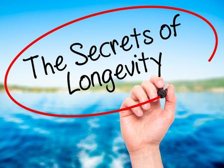 longevity: Man Hand writing The Secrets of Longevity with black marker on visual screen. Isolated on nature. Stock Photo