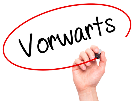 next horizon: Man Hand writing Vorw??¤rts  (Forward In German)  with black marker on visual screen. Isolated on white. Business, technology, internet concept. Stock Photo