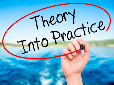 Man Hand writing Theory Into Practice with black marker on visual screen. Isolated on nature. Business, technology, internet concept. Stock Photo Stock Photo