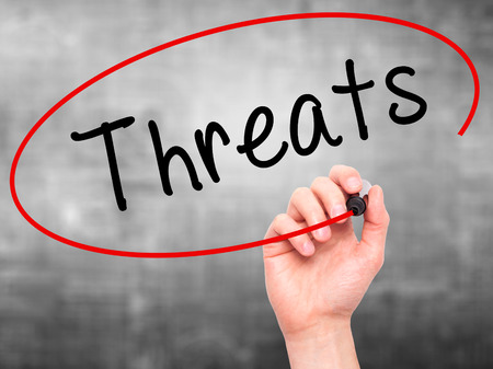 strategic advantage: Man Hand writing Threats with black marker on visual screen. Isolated on grey. Business, technology, internet concept. Stock Photo