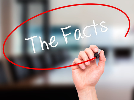 fib: Man Hand writing The Facts  with black marker on visual screen. Isolated on office. Business, technology, internet concept. Stock Photo