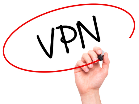 Man Hand writing VPN (Virtual Private Network) with black marker on visual screen. Isolated on background. Business, technology, internet concept. Stock Photo Stock Photo