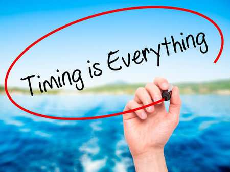 exactitude: Man Hand writing Timing is Everything with black marker on visual screen. Isolated on nature. Business, technology, internet concept. Stock Photo Stock Photo