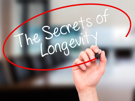 longevity: Man Hand writing The Secrets of Longevity with black marker on visual screen. Isolated on office. Business, technology, internet concept. Stock Photo