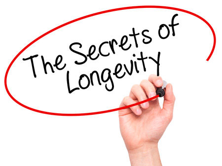 longevity: Man Hand writing The Secrets of Longevity with black marker on visual screen. Isolated on white. Business, technology, internet concept. Stock Photo