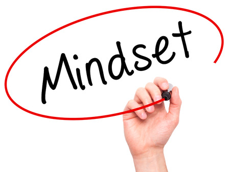 Man Hand writing Mindset with marker on transparent wipe board isolated on white. Business, internet, technology concept. Stock Photo Reklamní fotografie