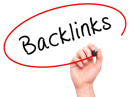 backlinks: Man Hand writing Backlinks with marker on transparent wipe board. Isolated on white. Business, internet, technology concept.  Stock Photo Stock Photo