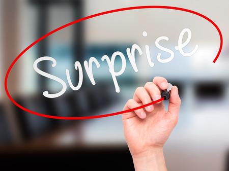 jolt: Man hand writing Surprise on visual screen. Business,help, internet, technology concept. Isolated on office. Stock Photo