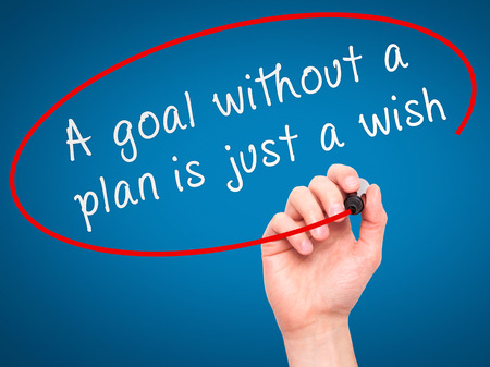 """quota: Man Hand writing """"A goal without a plan is just a wish"""" black marker on visual screen. Isolated on blue. Business, technology, internet concept. Stock Image"""