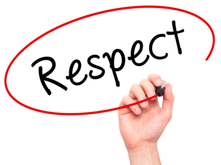 reputable: Man Hand writing Respect black marker on visual screen. Isolated on white. Business, technology, internet concept. Stock Image