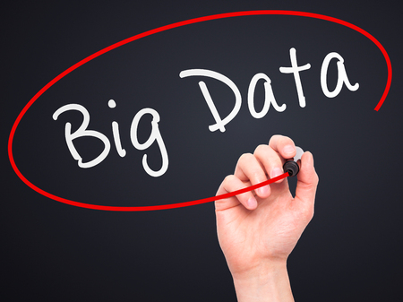 meta analysis: Man Hand writing Big Data with marker on transparent wipe board. Isolated on black. Business, internet, technology concept. Stock Photo