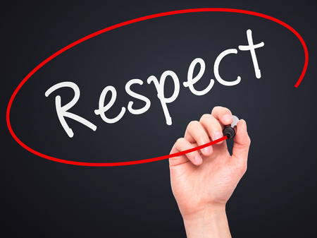 believable: Man Hand writing Respect black marker on visual screen. Isolated on black. Business, technology, internet concept. Stock Image