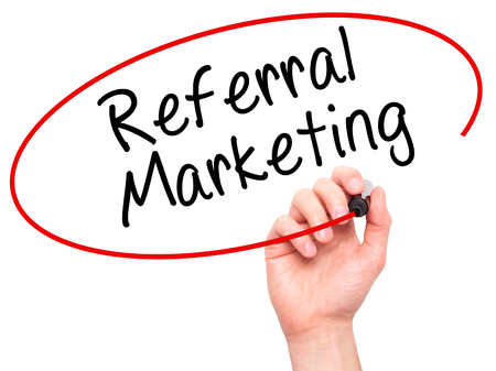 referral marketing: Man Hand writing Referral Marketing with marker on transparent wipe board. Isolated on white. Business, internet, technology concept. Stock Photo Stock Photo