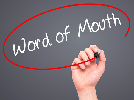 animal mouth: Man Hand writing Word of Mouth  with black marker on visual screen. Isolated on background. Business, technology, internet concept. Stock Photo