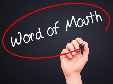 referrer: Man Hand writing Word of Mouth  with black marker on visual screen. Isolated on background. Business, technology, internet concept. Stock Photo