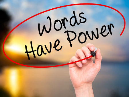 communicative: Man Hand writing Words Have Power with black marker on visual screen. Isolated on nature. Business, technology, internet concept. Stock Photo